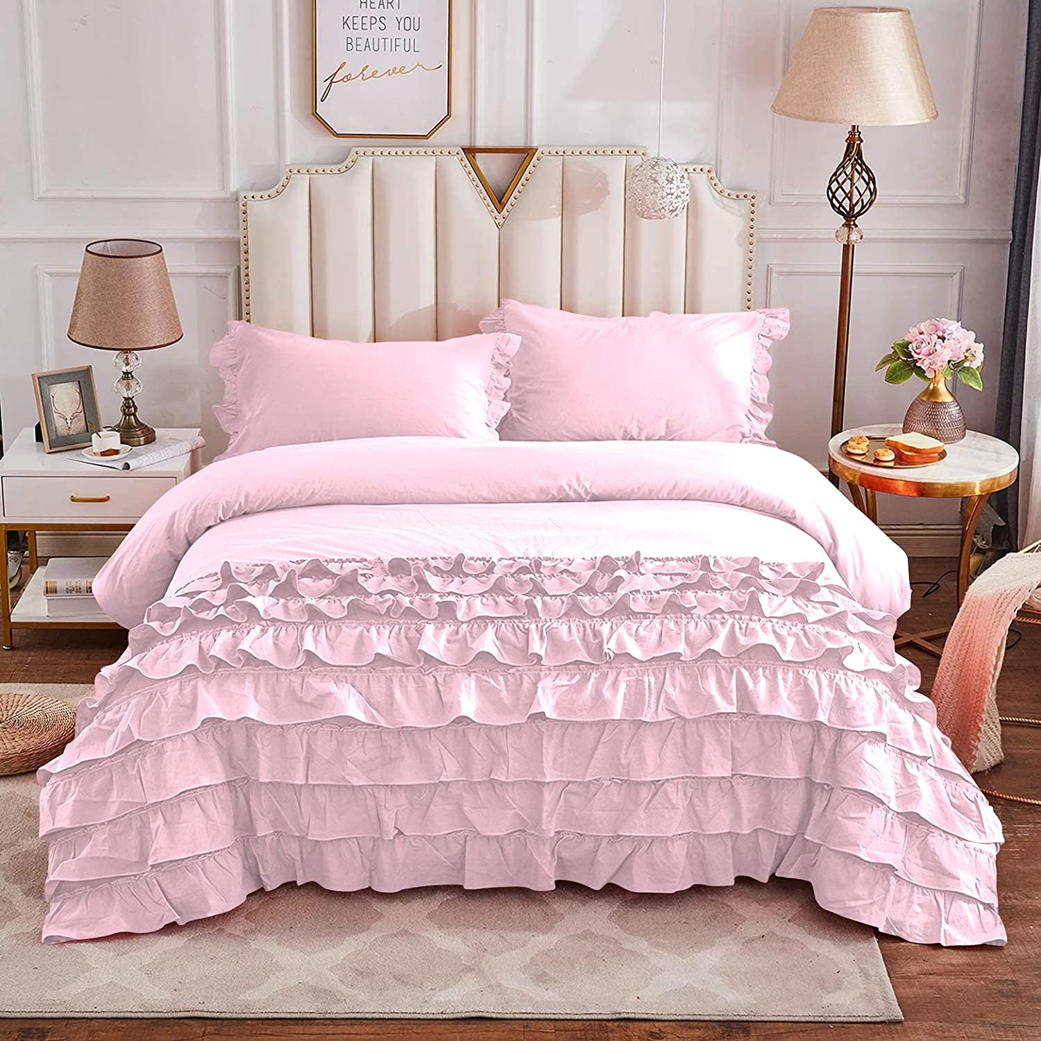 Fabricom Twin lowest price Twin-XL Size Vintage Outstanding 1Pc Bedding Cut Girls Ruffled