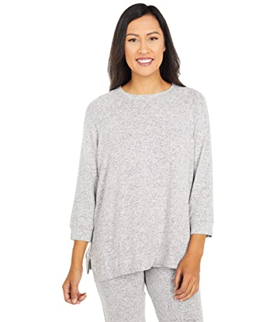 Donna Karan Brushed Sweater Jersey Sleep Top (Grey Heather) Women