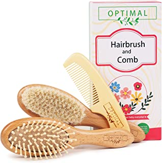 Baby Hair Brush and Comb Set with Natural Goat Bristles Soft for Toddler and Newborn Boy&Girl Perfect Baby Registry Gift |...