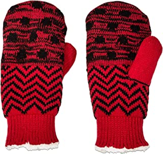 Isotoner Womens SmartDRI Water Resistant Thick Lined Warm Winter Knit Mittens - Red Dot