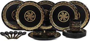 AE Maharani Everwell Dinnerware- Melamine Lightweight Dishwasher Safe Dinner Set- 24 Pieces, Black, Golden Floral