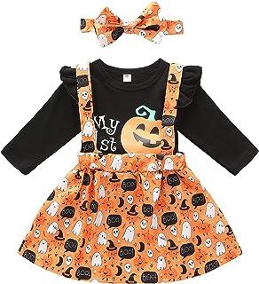 Newborn Baby Girl Halloween Clothes Pumpkin Smiley Ruffle Sleeve Romper +Floral Suspender Shirt Headband Outfits
