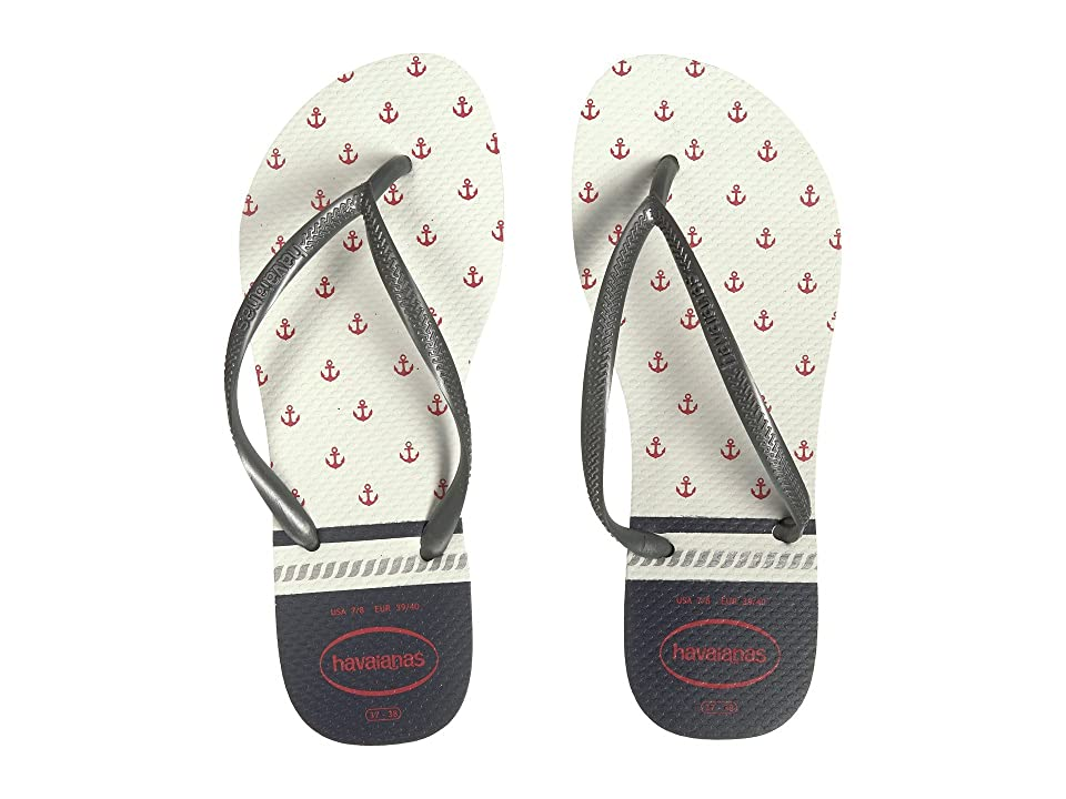 Havaianas Slim Nautical Flip-Flops (White/Graphite) Women
