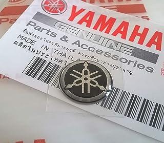 100% Original 12mm Diámetro Yamaha Diapasón Pegatina Emblema Logo Plata/Negro Relieve Cúpula Gel Resina Autoadhesivo Moto / Jet Ski / Atv / Nieve/Guitarra