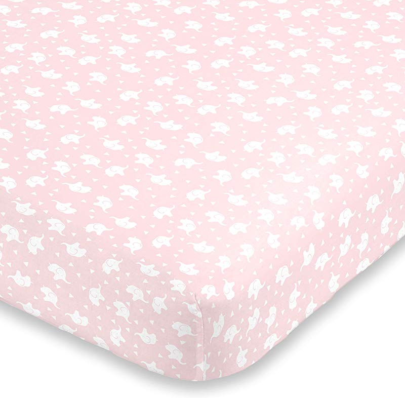 NoJo Super Soft Pink White Elephant Fitted Crib Sheet Pink White