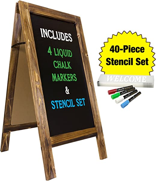 Large Sturdy Handcrafted 40 X 20 Wooden A Frame Chalkboard Display 4 Liquid Chalk Markers Stencil Set Sidewalk Chalkboard Sign Sandwich Board Chalk Board Standing Sign Rustic