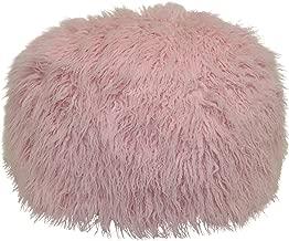 Brentwood Originals Mongolian Fur Pouf Pillow, 20x12 Rd, Soft Pink