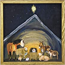 GreenBox Art + Culture Nativity Manger by Cathy Walters 6 x 6 Mini Framed Canvas with Gold Accents