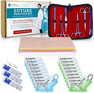 Suture Practice Kit by Medical Creations with Ebook Training Guide - Reusable Silicone Suturing Pad with Tool Kit - for Medical, Nursing, Vet Students (Educational and Demonstration Use Only)