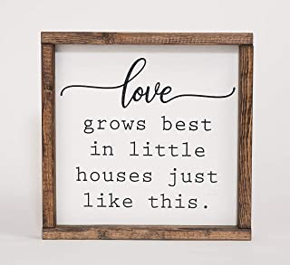 Home Decor Farmhouse Sign Love grows best Wall Decor Rustic Decorations 12in x 12in