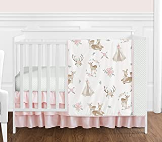 Sweet Jojo Designs Blush Pink, Mint Green and White Boho Watercolor Woodland Deer Floral Baby Girl Crib Bedding Set Without Bumper - 4 Pieces