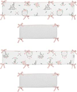 Sweet Jojo Designs Girl Baby Nursery Crib Bumper Pad, Gray Bunny Floral Collection - Watercolor Rose Flower, Blush Pink and Grey Woodland Boho Dream Catcher Arrow