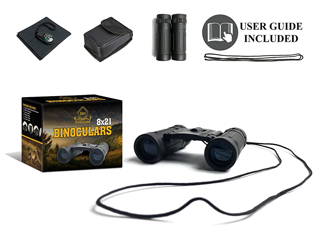 Binoculars 8x21 Small Compact Mini Pocket Folding Lightweight High-Resolution with Fully Multi-Coated Lens - Concert Theater Opera Travel Hiking Bird Watching Adults Kids - Bonus Mini Compass (Black)