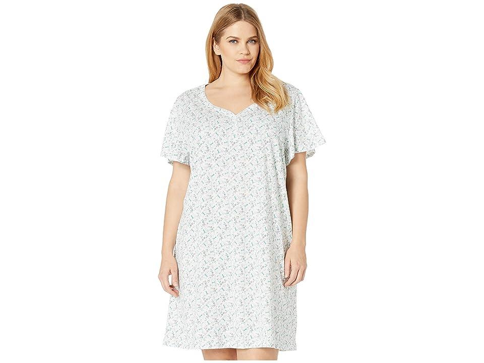Karen Neuburger Plus Size Fantasia Short Sleeve Nightshirt (Butterfly/Bright White) Women