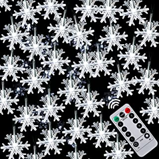 Christmas String Lights 20Ft 40 LED Battery Operated Snowflake String Light 8 Modes Decorative Waterproof String Light Rem...