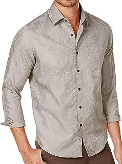 Tasso Elba Mens Marcus Printed Cuff Sleeves Button-Down Shirt