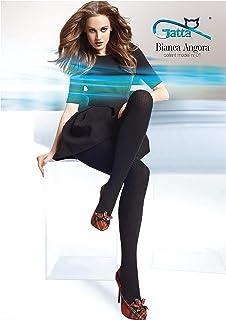 Gatta Bianca Angora 01 - blickdichte gestreift-gemusterte Strumpfhose für kalte Tage