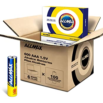 Allmax AAA Maximum Power Alkaline Batteries (600 Count Wholesale Pack / 6 Boxes of 100 Batteries) – Ultra Long-Lasting Triple A Battery – Perfect for Businesses, Schools, Hospitals, Government (1.5V)