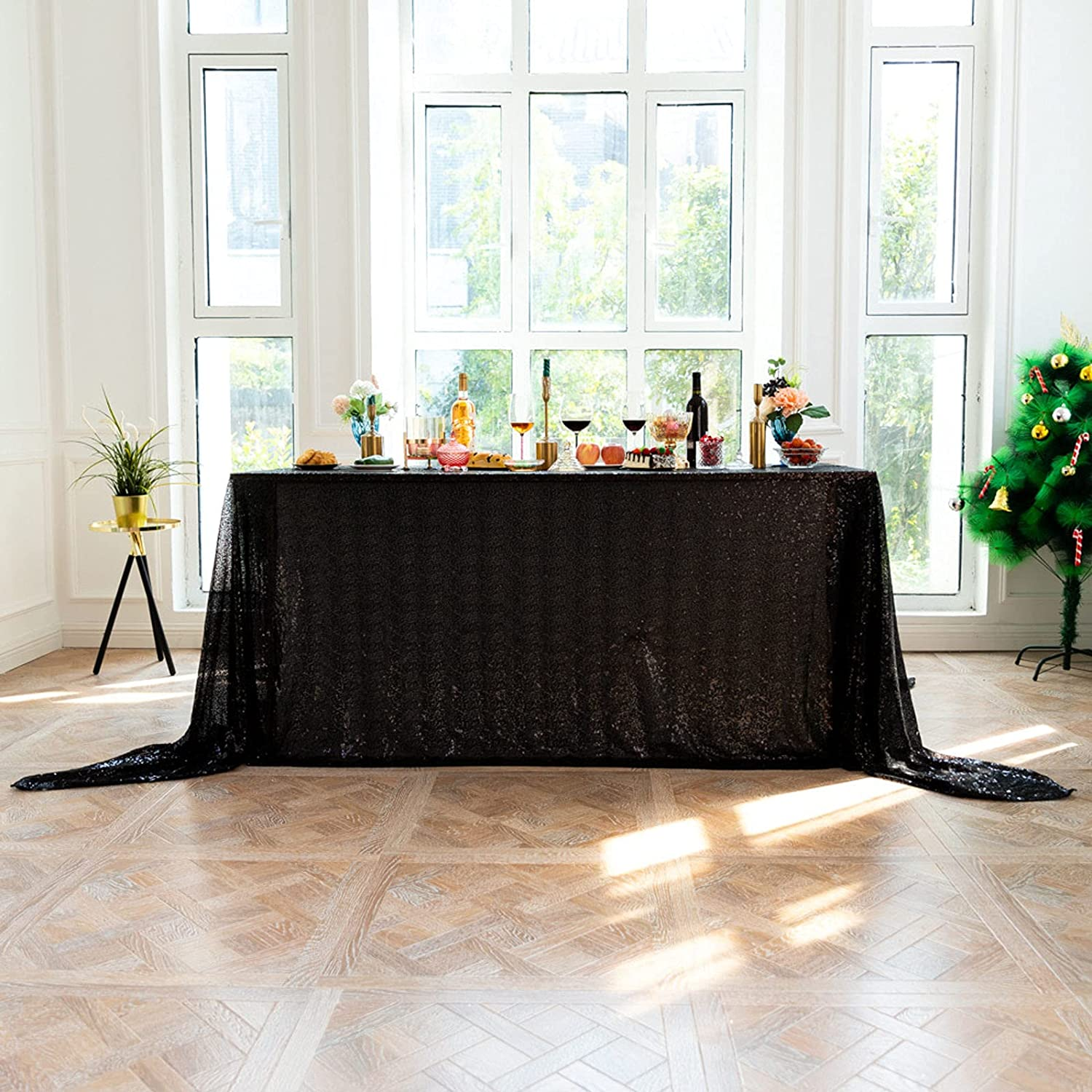 Sequins Tablecloth Rectangle Glitter Nippon regular agency Omaha Mall Christmas Cover Table for