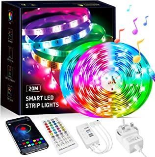 Beaeet LED Strip Lights 20M,Ultra-Long Bluetooth APP and Remote Control Music Sync Colour Changing Led Light,Sticky Flexib...