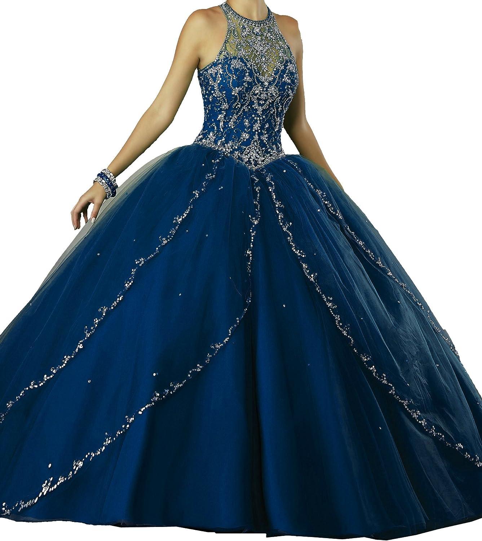 PuTao Women's Illusion High Neckline Beaded Big Girls Princess Party Sweet 15 Quinceanera Dresses