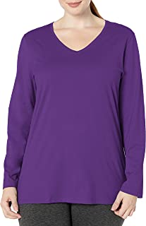 Just My Size Women's Plus Size Vneck Long Sleeve Tee