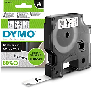 Dymo D1 Labelling tape 12mm black on white 45013