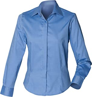 Henbury Womens/Ladies Long Sleeve Oxford Fitted Work Shirt