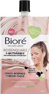 BIORÉ 26421 Rosenquarz  Aktivkohle Tonerde-Gesichts-Maske - Stresslindernd - Für normale und fettige Haut - Klärt die Poren,