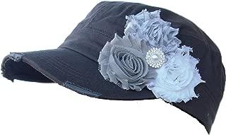 La Bella Rose Boutique Womens Cadet Flower Hat (Gray & White)