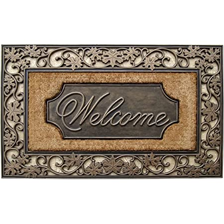 """A1 Home Collections A1HOME200029 Rubber & Coir Dirt Trapper Heavy Weight Large Welcome Doormat, 23"""" x 38"""", Floral Border"""