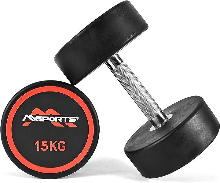 2 manubri da 15 kg palestra- fitness- gym - manico cromato e zigrinato e gomma msports B08242Q9PR