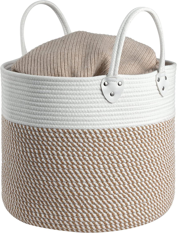 ZLG Cotton Rope Basket w/ Handles,Small Storage Baskets 14.56''x14.56''x12.59'' Decorative Hamper for Diaper,Blankets,Magazine,Soft Baby Kid Nursery Hamper Organizer