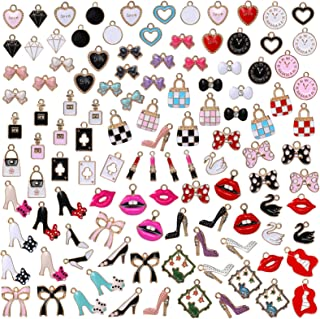 ZIIVARD Assorted Enamel Charms, Colorful Designer Charms for Jewelry Making Lipsticks High Heels Bags Bows Perfume Charms ...