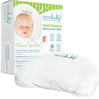 OCCObaby Baby Head Shaping Memory Foam Pillow   Cotton Cover & Bamboo Pillowcase   Keep Your Baby's Head Round   Prevent Flat Head Syndrome in Infant