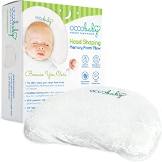 OCCObaby Baby Head Shaping Memory Foam Pillow | Cotton Cover & Bamboo Pillowcase | Keep Your Baby`s Head Round | Prevent Flat Head Syndrome in Infant