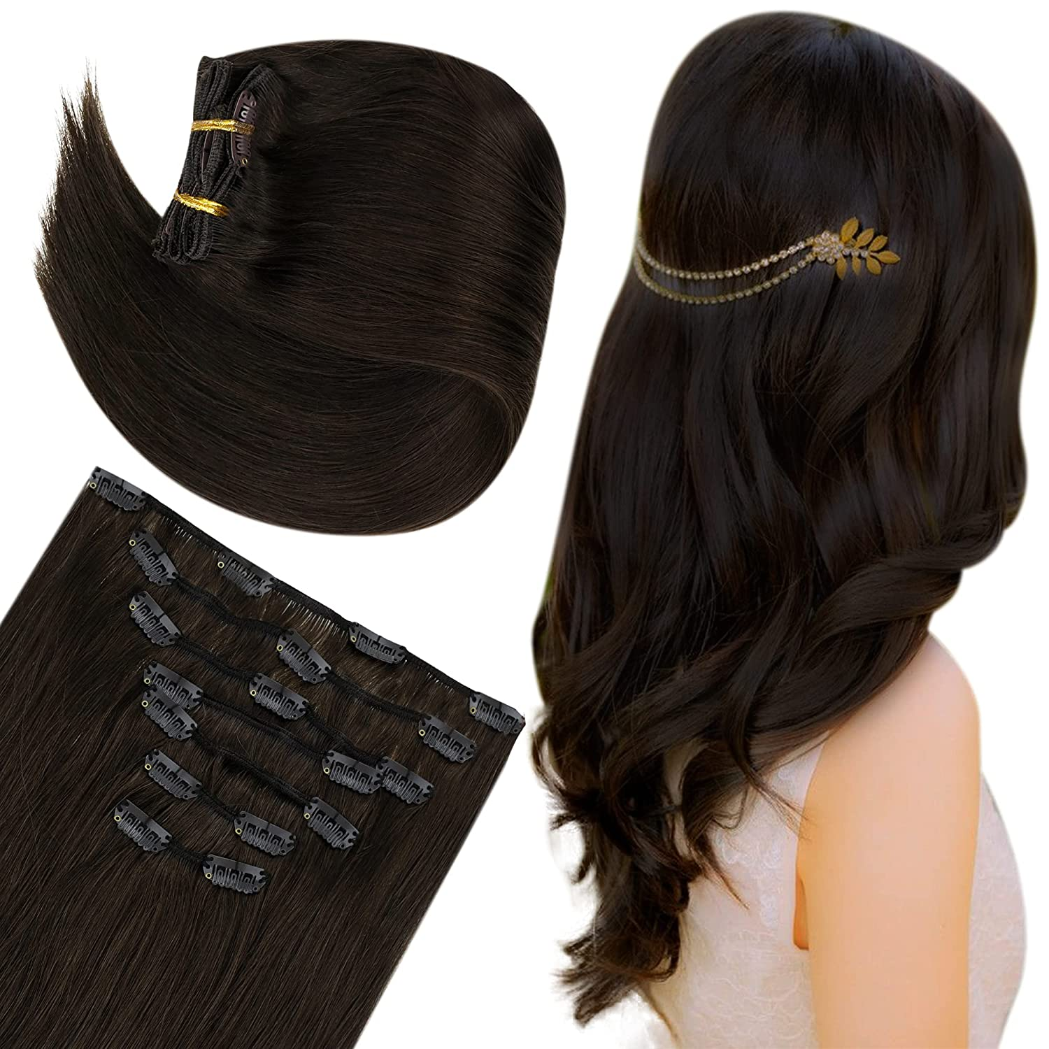 Easyouth Cheap Cheap sale mail order specialty store Brown Clip in Hair Human Seamless Extensions Exten