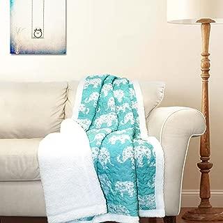 "Lush Decor Elephant Parade Fuzzy Reversible Sherpa Throw Blanket, 60"" x 50"", White and Aqua"