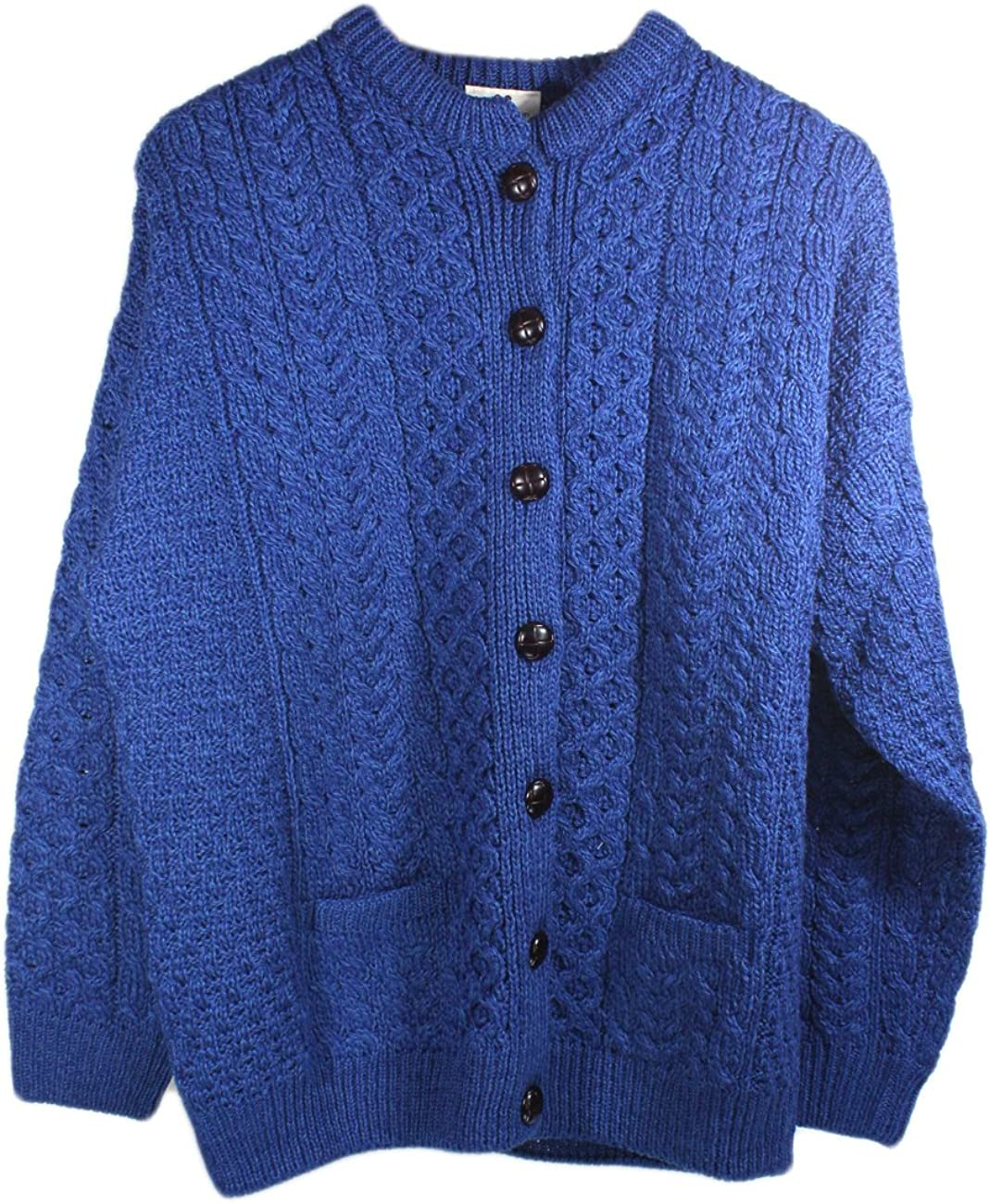 Irish Aran Sweater for Women 100% Merino Wool Lumber Cardigan Made in Ireland