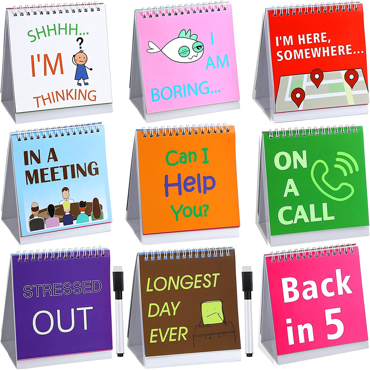 2 Pieces Funny Desk Office Signs Funny Picture 30 Different Fun and Flip-Over Messages Calendar and 2 Pieces Black Pens Funny Desk Accessories for Work Business Office Gifts Desk Cubicle Accessories