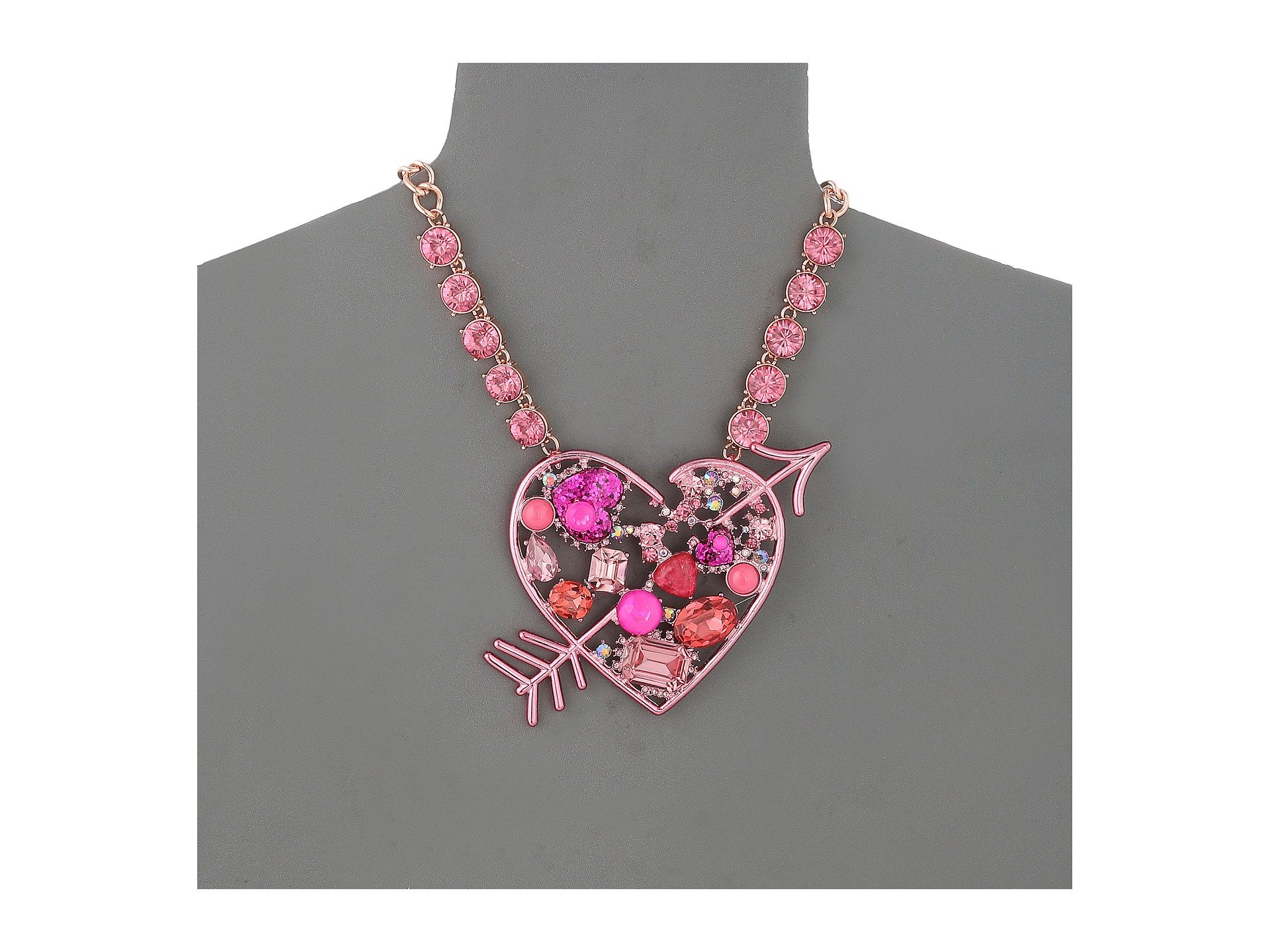 Betsey johnson pink heart pendant necklace at zappos aloadofball Gallery
