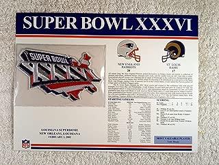 Super Bowl XXXVI (2002) - Official NFL Super Bowl Patch with complete Statistics Card - New England Patriots vs St. Louis Rams - Tom Brady MVP