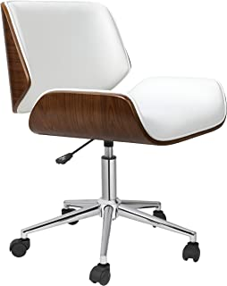 Porthos Home Dove Office Chairs in Mid-Century Modern Design with Leather Upholstery, Wooden Accents, Stainless Steel Legs, Roller Wheels & Adjustable Height, White