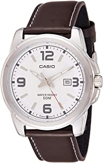 Casio Men's Classic White Dial Leather Band Watch [MTP-1314L-7AVDF]