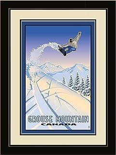 "Northwest Art Mall PB-7267 LFGDM SBA Grouse Mountain Canada Snowboarder 20""x26"" Framed Wall Art by Artist Paul Leighton, 2..."