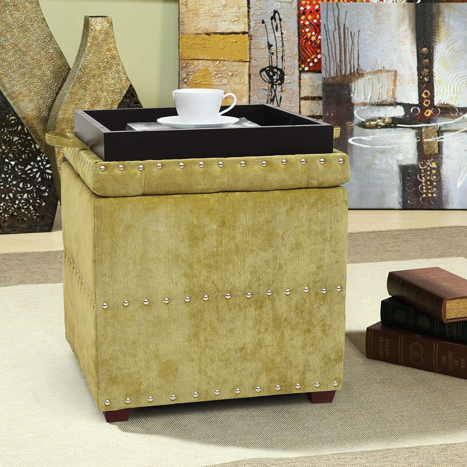 Asense Square Fabric Ottoman with Tray Credence Cube Storage Free shipping on posting reviews Ott