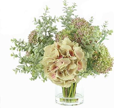 "Deco 79 Mauve Hydrangea and Eucalyptus Arrangement in Glass Vase w/ Acrylic Water, 23""L x 21""H, Multi, Large (100019)"