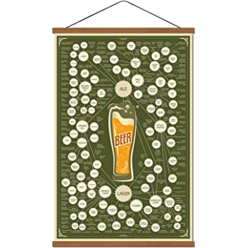 Various Beer Infographic Collection Poster Print on Canvas Chart Kitchen Bar Wall Art Decor Drink Lover Gift List Ready to Hang Encyclopedic Information with Frame 16''x24''