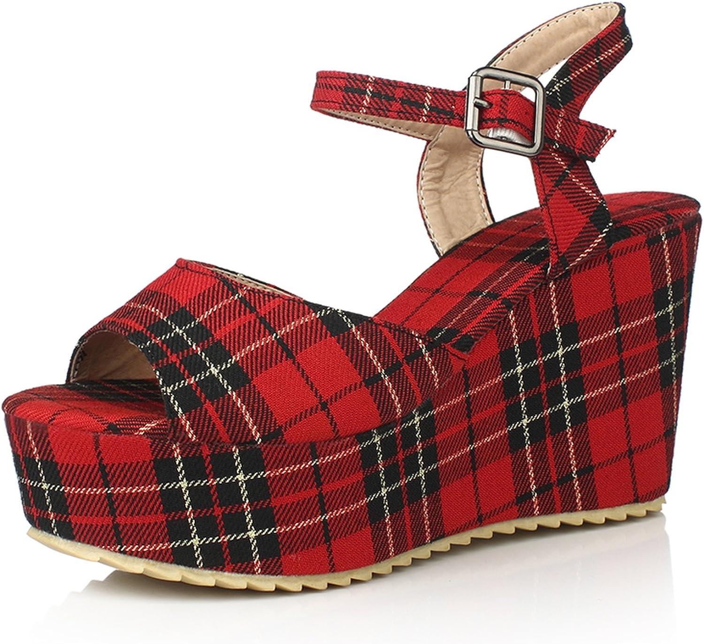 Nerefy Gingham Big Size 33-45 Platform Women shoes Vintage Wedges High Heels Dating Sandals Plaid
