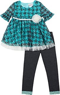 Baby Girls 2-Piece Houndstooth Lace Top Legging Set, Turquoise